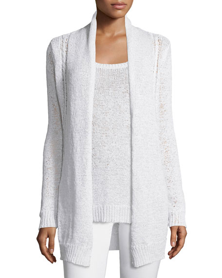 Neiman Marcus Cashmere Collection Long Cable-Knit Cardigan