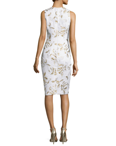 Sleeveless Floral-Print Cocktail Dress, Ivory/Gold