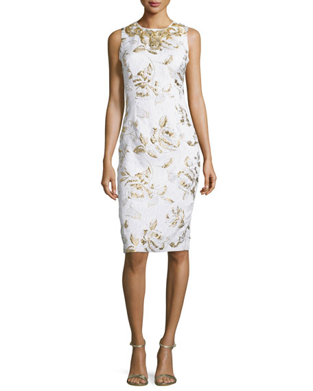 Badgley Mischka Sleeveless Floral-Print Cocktail Dress, Ivory/Gold