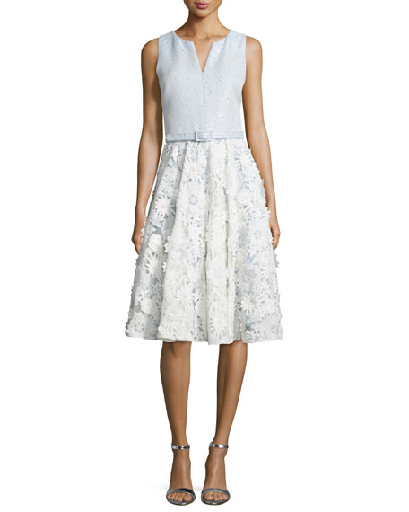Lace-Skirt Sleeveless Cocktail Dress, Ivory Sky