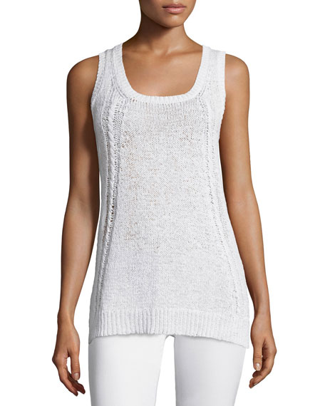 Neiman Marcus Cashmere Collection Scoop-Neck Cable-Knit Tank