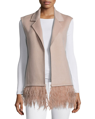 Double Woven Vest with Feathers