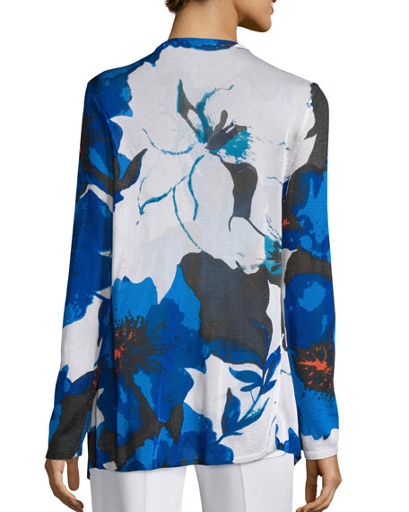 Floral Lapis of Luxury Cardigan, Plus Size