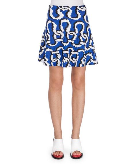 Kenzo Printed A-Line Crepe Skirt, Royal
