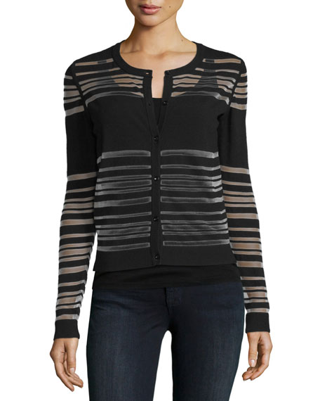 Milly Invisible-Striped Button-Front Cardigan, Black