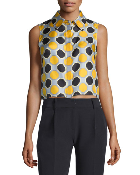 Milly Sleeveless Printed Crop Top, Ochre
