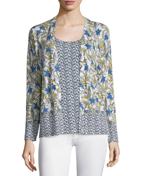 Neiman Marcus Cashmere Collection Mixed Lillies V-Neck Cardigan