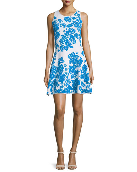 Milly Sleeveless Floral-Print Dress, Ivory/Aqua