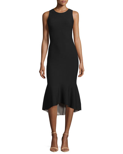 Reversible Sleeveless Tulip Dress, Black/Blush
