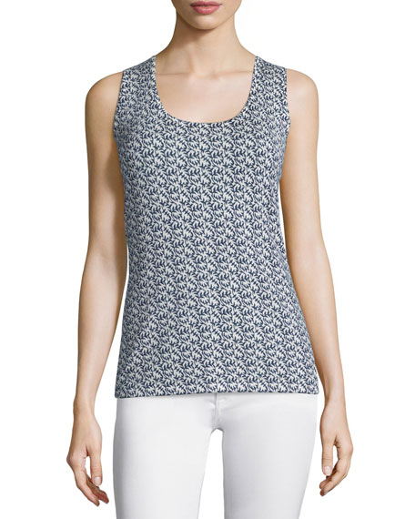 Neiman Marcus Cashmere Collection Mixed Lilies Tank Top