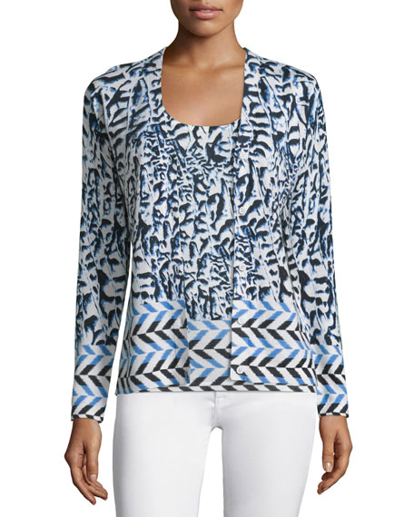 Neiman Marcus Cashmere Collection Arrow Printed Button-Front Cardigan