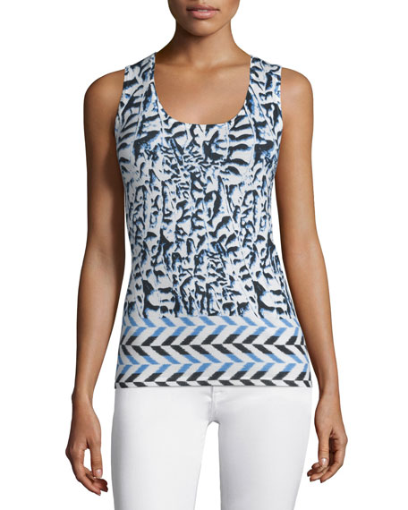 Neiman Marcus Cashmere Collection Arrow Printed Silk/Cashmere Slim Tank