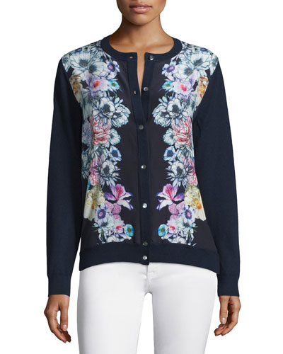 Silk-Front Floral Cardigan
