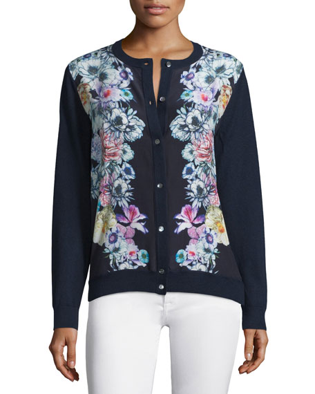 Neiman Marcus Cashmere Collection Silk-Front Floral Cardigan