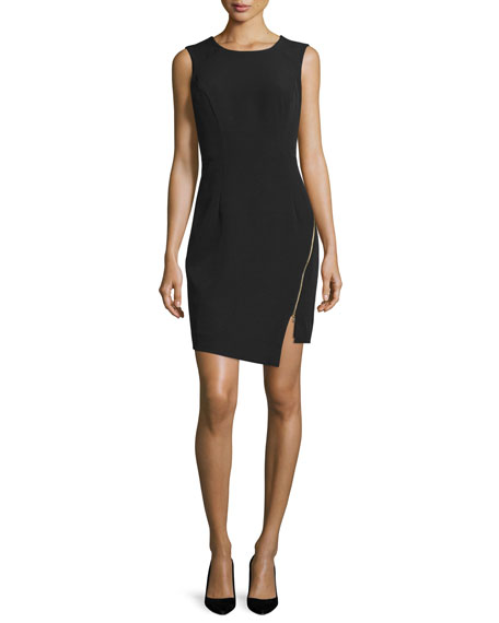 Milly Sleeveless Split-Hem Sheath Dress, Black