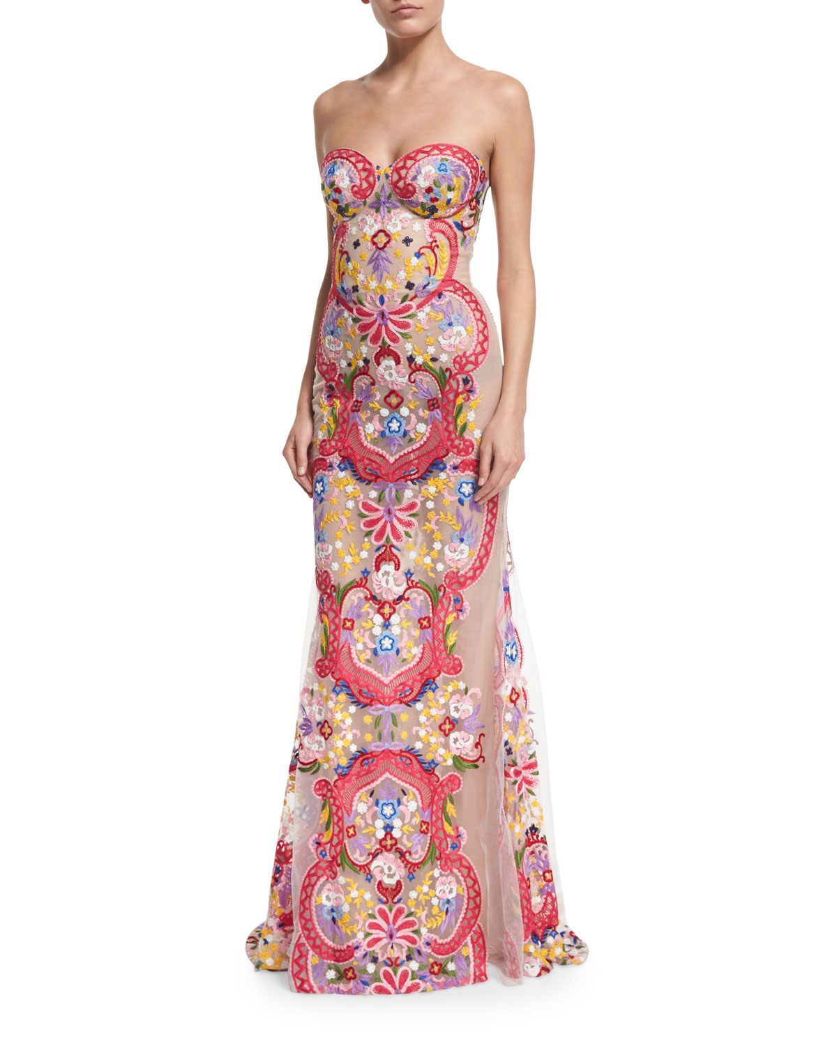 Strapless Embroidered Illusion Gown White Multi