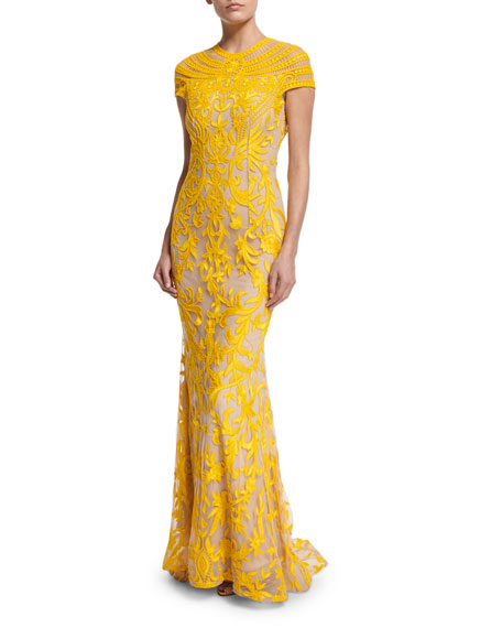 Cap-Sleeve Embroidered Mermaid Gown, Yellow