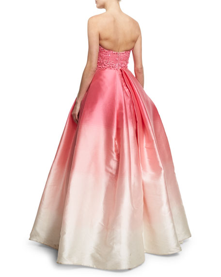 Strapless Embellished Degrade Ball Gown, Fuchsia