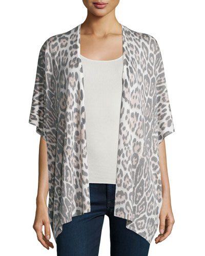 Leopard-Print Short-Sleeve Kimono