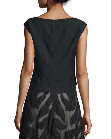 Special Edition Secret Garden Sleeveless Top, Black, Petite