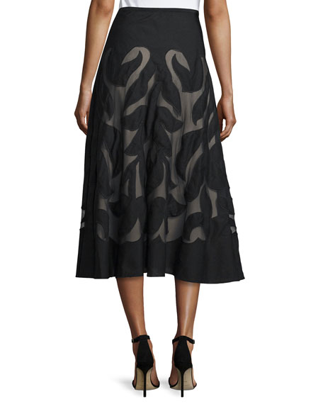 Special Edition Secret Garden A-line Midi Skirt, Black, Petite