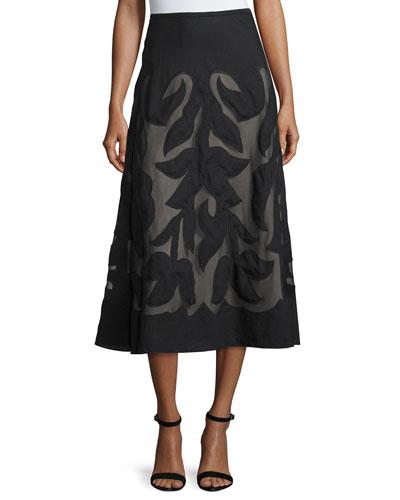 Special Edition Secret Garden A-line Midi Skirt, Black