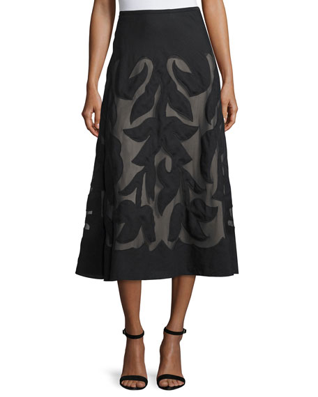 Special Edition Secret Garden A-line Midi Skirt, Black