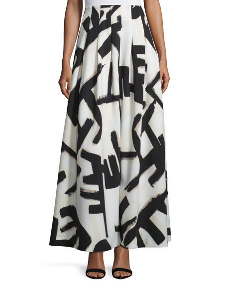 NIC+ZOE Graphic-Print Pleated Maxi Skirt