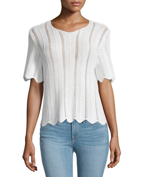 FRAME DENIM Le Crochet Short-Sleeve Boxy Top, Blanc