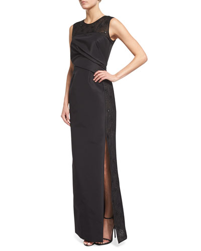 Sleeveless Pleated-Bodice Column Gown, Black