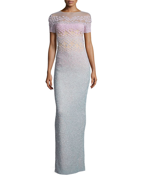 Pamella Roland Short-Sleeve Ombre Column Gown, Multi Colors