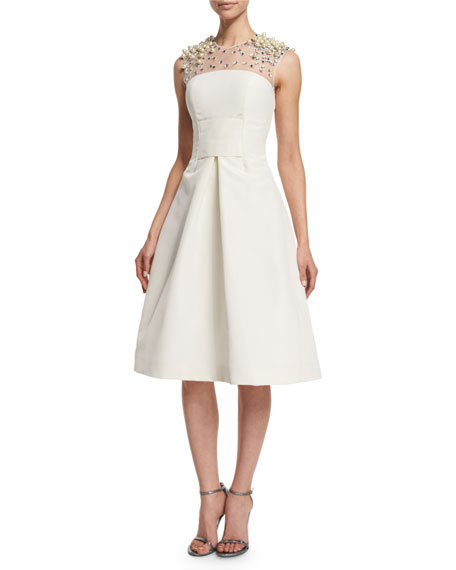 Pamella Roland Beaded-Yoke Cocktail Dress, Ivory