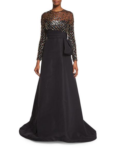 Pamella Roland Embellished Long-Sleeve Gown, Black