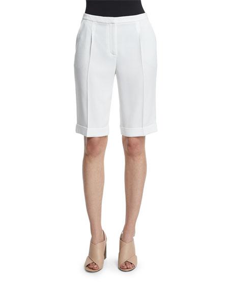 Elie Tahari City Slim-Leg Bermuda Shorts, Optic White