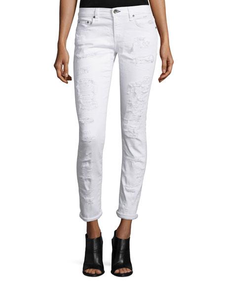 rag & bone/JEAN Dre Distressed Cropped Skinny Jeans,
