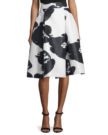 Halston Heritage Orchid-Print High-Waist Pleated Skirt