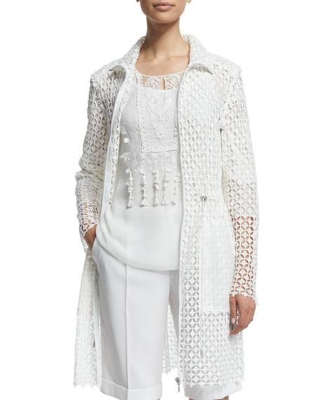 Nicolette Drawstring-Waist Macrame Coat, Antique