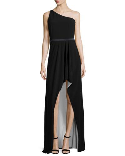One-Shoulder Two-Tone Gown, Black/Bone