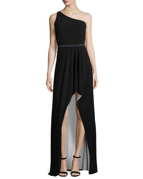 Halston Heritage One-Shoulder Two-Tone Gown, Black/Bone