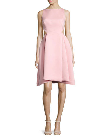Halston Heritage Ali Sleeveless Side-Cutout Dress, Parfait Pink