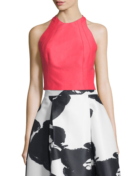 Halston Heritage Sleeveless Structured Crop Top, Coral