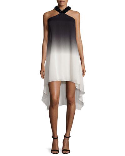 Embellished Halter-Neck Ombre Dress, Black/Oyster