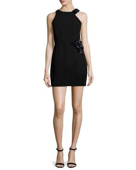 Halston Heritage Sleeveless Embellished Sheath Dress, Black