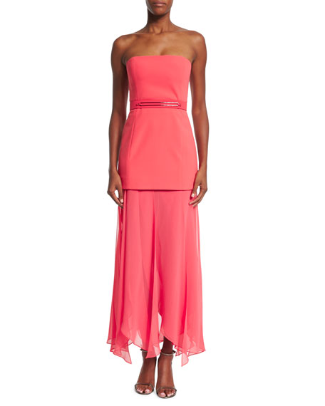 Halston Heritage Strapless Flowy-Skirt Dress, Coral