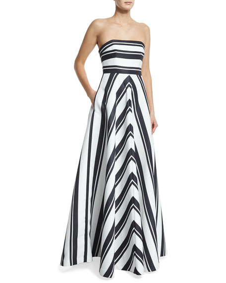 Halston Heritage Strapless Striped Ball Gown, Black/Eggshell
