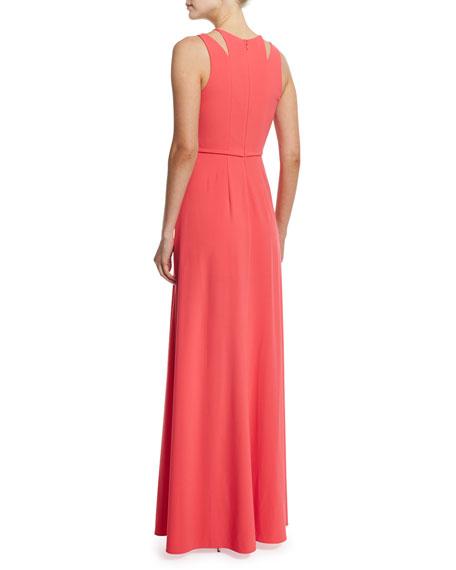 Sleeveless Split-Skirt Gown, Coral