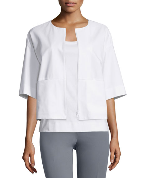 Lafayette 148 New York Sabina Cropped Jacket, White