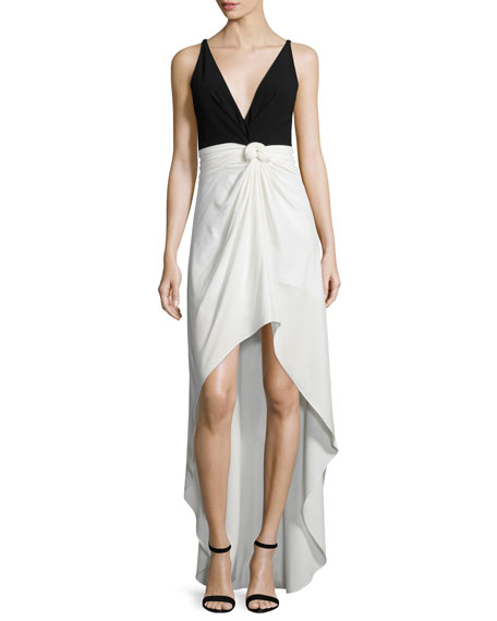 Halston Heritage Sleeveless Colorblock Knot-Waist Dress,