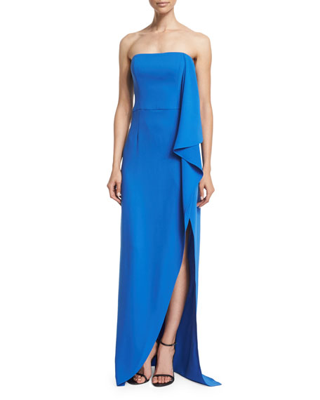 Halston Heritage Strapless Draped-Ruffle Gown, Cobalt