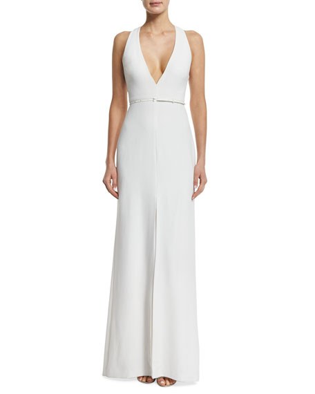 Halston HeritageSleeveless Trapeze-Back Gown, Linen White